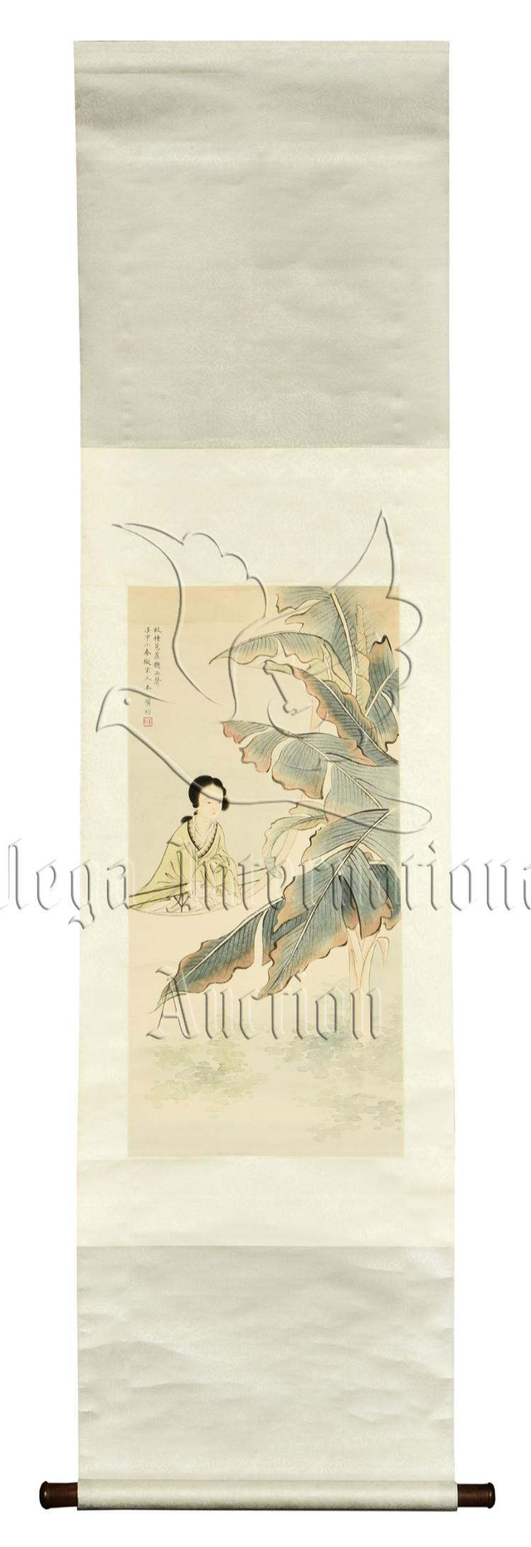 HUANG JUN: INK AND COLOR ON PAPER PAINTING 'LADY'