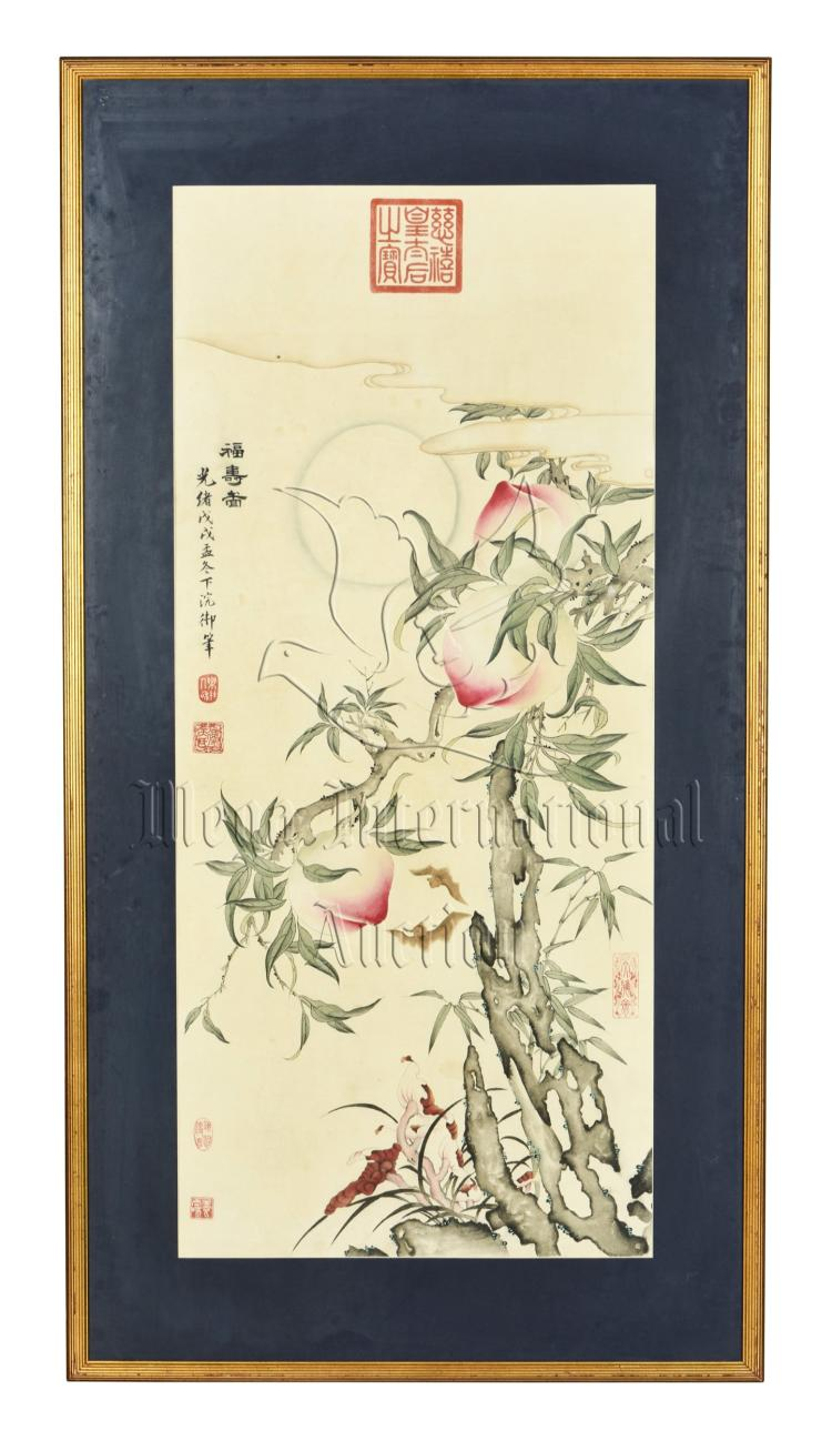 EMPRESS DOWAGER CIXI: FRAMED INK AND COLOR ON PAPER PAINTING 'PEACHES'