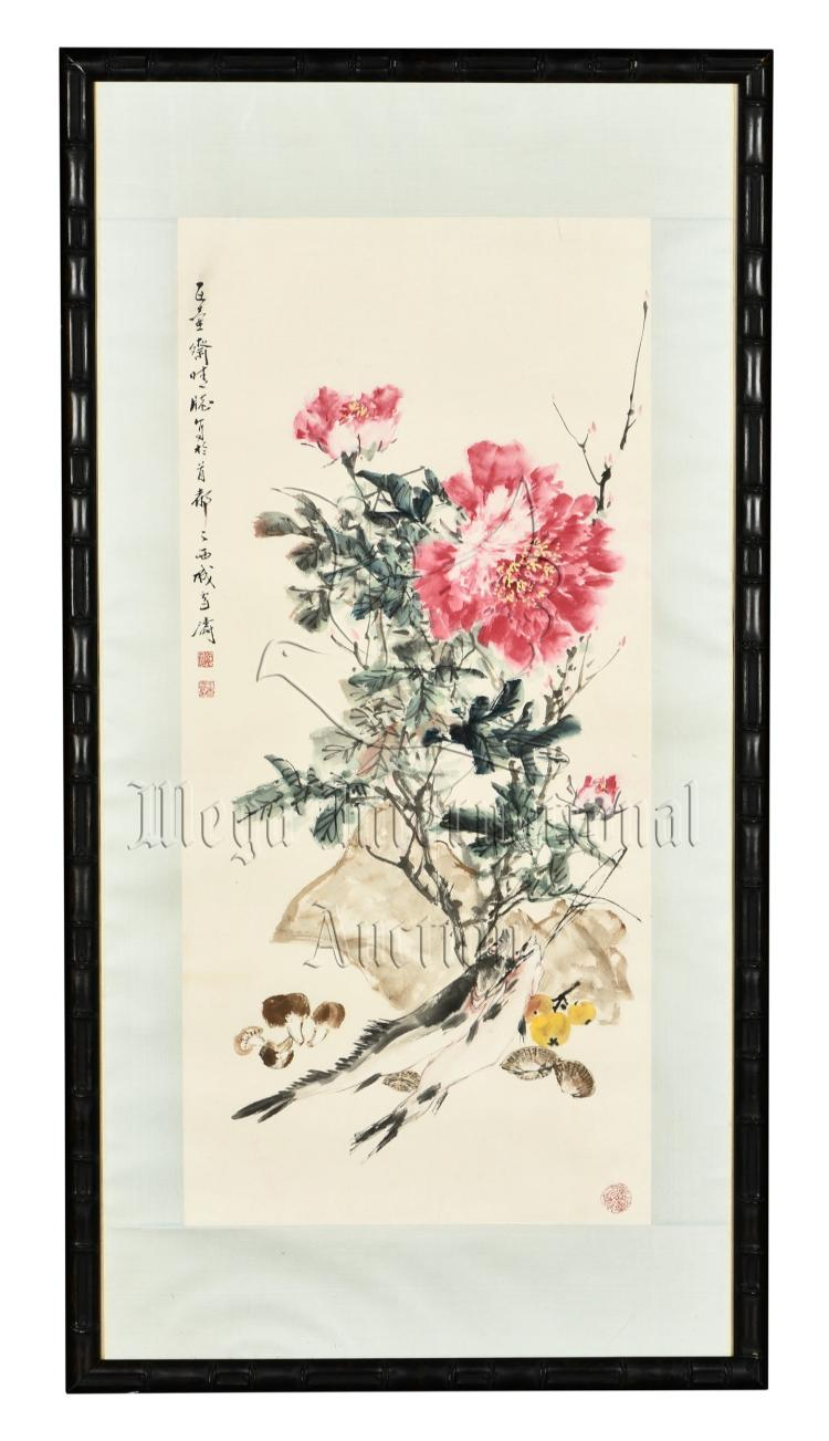 WANG XUETAO: FRAMED INK AND COLOR ON PAPER PAINTING 'FLOWERS'