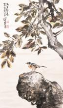 CHEN PEIQIU: INK AND COLOR ON PAPER PAINTING 'FALL SEASON SCENERY'