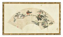 ZHAO ENXI: FRAMED INK AND COLOR ON FAN LEAF PAINTING 'BIRDS'