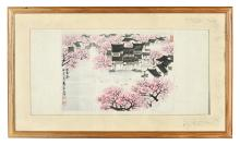 SONG WENZHI: FRAMED INK AND COLOR ON PAPER PAINTING 'JIANGNAN SPRING'