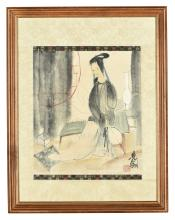 LIN FENGMIAN: FRAMED INK AND COLOR ON PAPER PAINTING 'LADY'