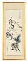 WU XIZENG, HU PEIHENG, QIGONG: FRAMED INK AND COLOR ON PAPER PAINTING 'FLOWERS'