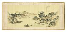 YUN SHOUPING: FRAMED INK AND COLOR ON SILK PAINTING 'LANDSCAPE SCENERY'