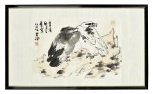 LI KUCHAN: FRAMED INK AND COLOR ON PAPER PAINTING 'EAGLES'