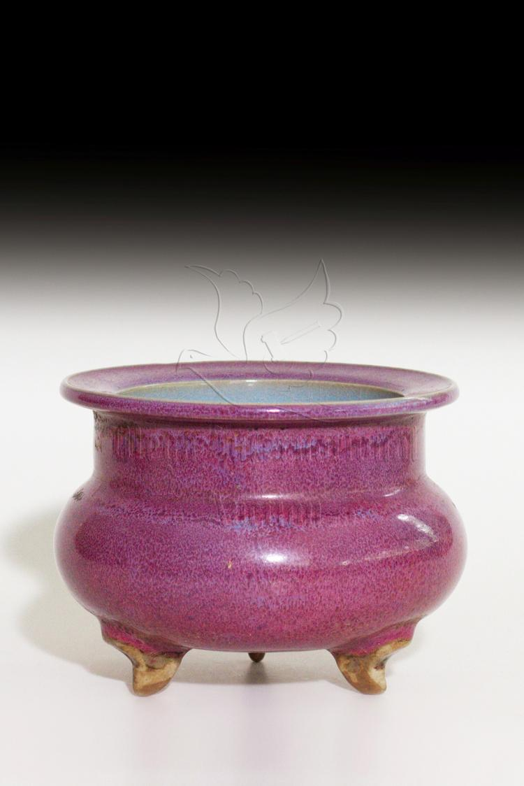 JUN WARE PURPLE GLAZED TRIPOD CENSER
