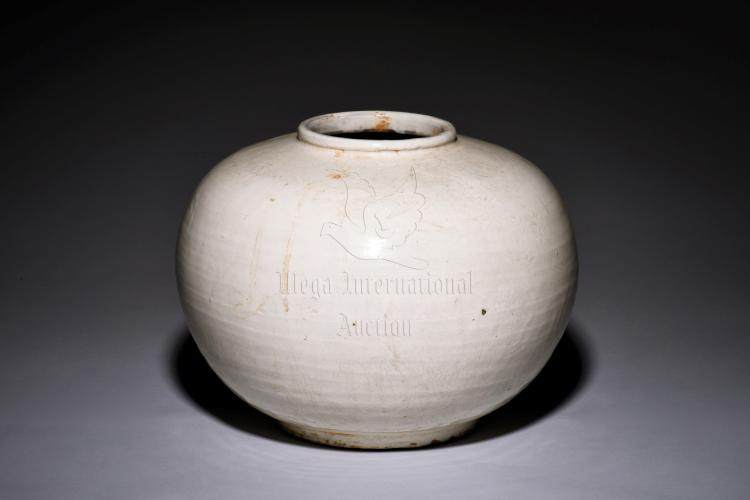 WHITE GLAZED ROUND JAR