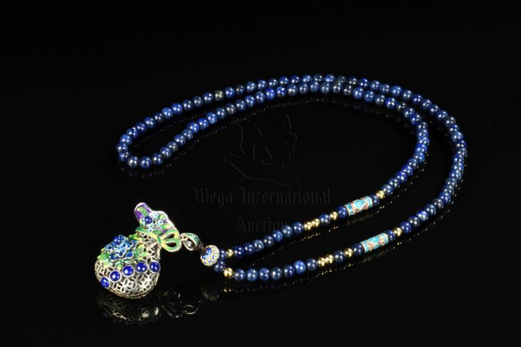 LAPIS LAZULI BEAD NECKLACE AND PENDANT