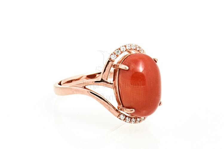 CORAL RING WITH DIAMONDS