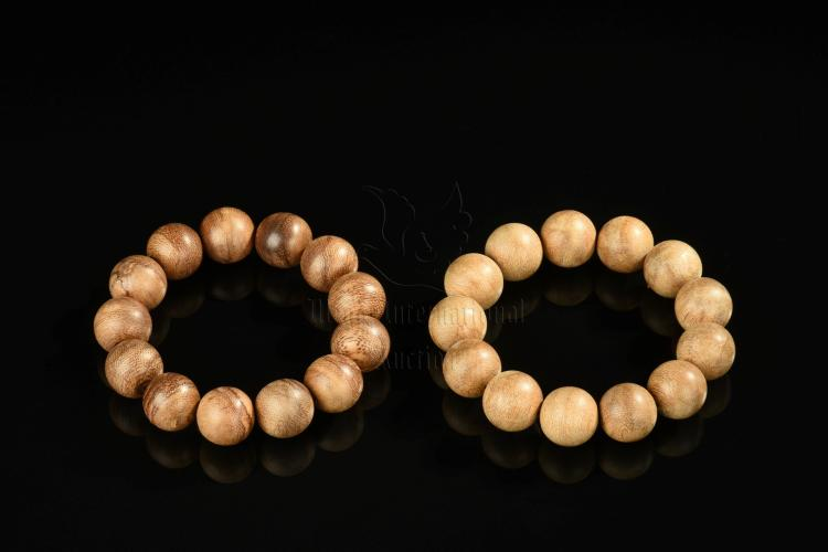 TWO AGARWOOD BRACELETS