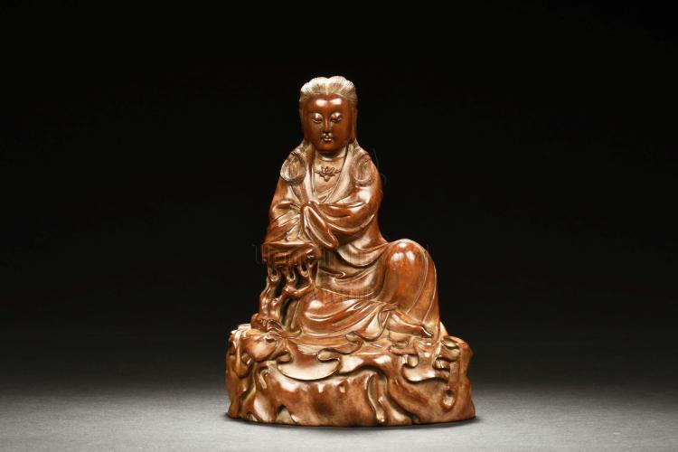 HUANGYANGMU WOOD CARVED GUANYIN FIGURE