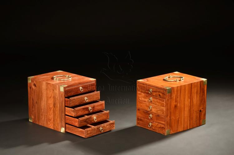 PAIR OF HUANGHUALI WOOD TIERED SMALL BOXES