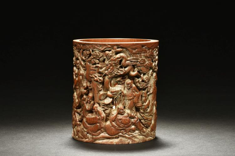 BAMBOO CARVED 'EIGHTEEN ARHATS' BRUSH POT
