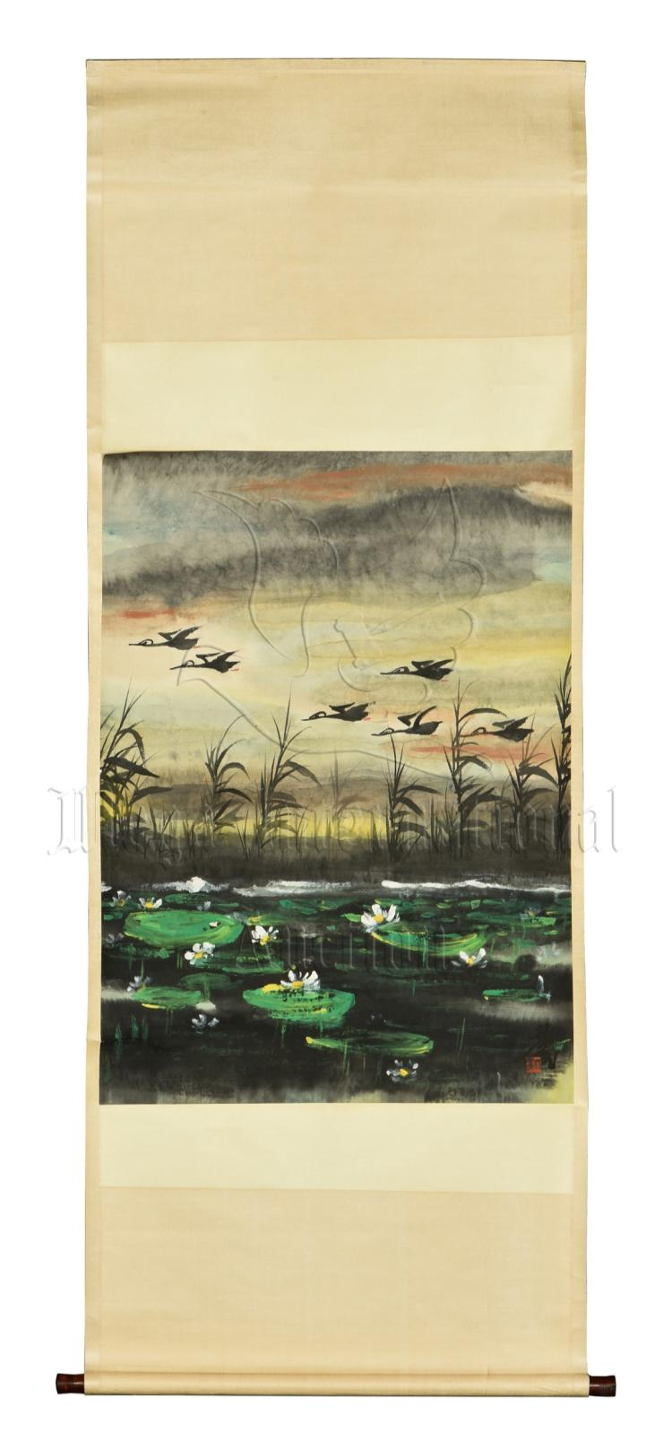 LIN FENGMIAN: INK AND COLOR ON PAPER PAINTING 'POND SCENERY'