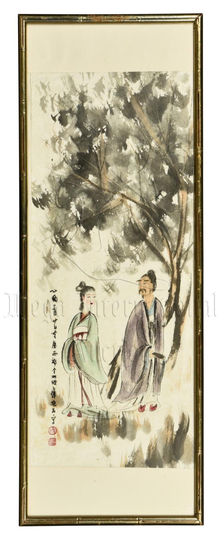 FU BAOSHI: FRAMED INK AND COLOR ON PAPER PAINTING 'PEOPLE'