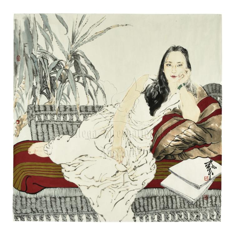 HE JIAYING: INK AND COLOR ON PAPER PAINTING 'GIRL'