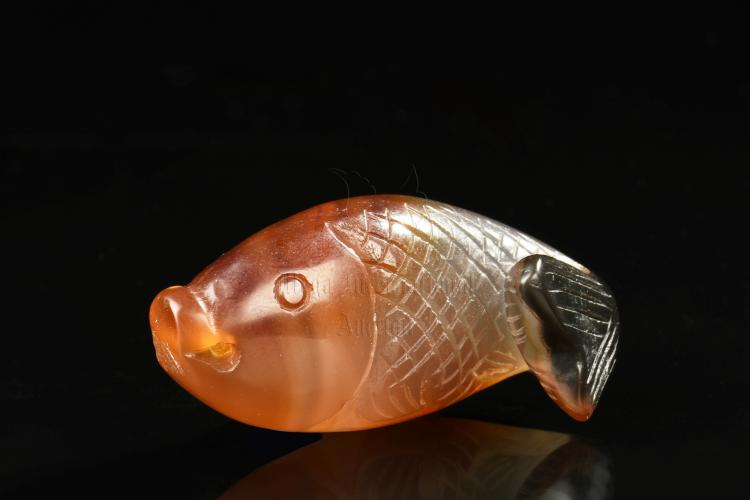AGATE CARVED FISH ORNAMENT