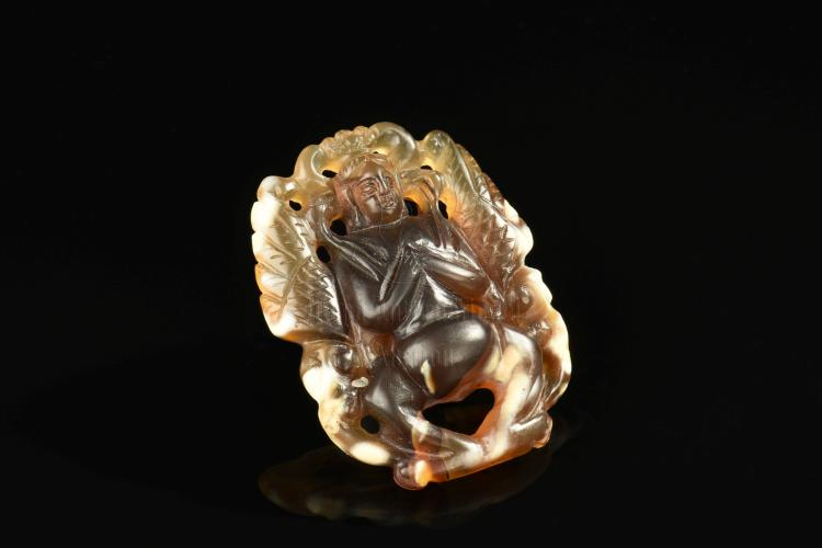 AGATE CARVED 'BUDDHA' PENDANT