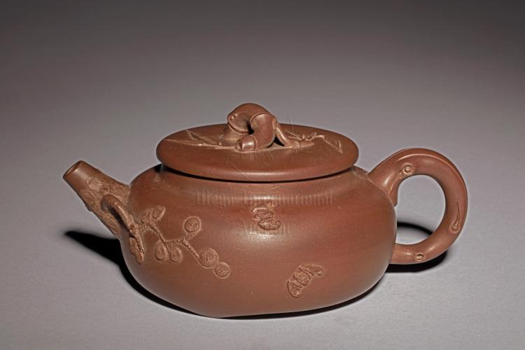 YIXING ZISHA 'WINTER PLANTS' TEAPOT