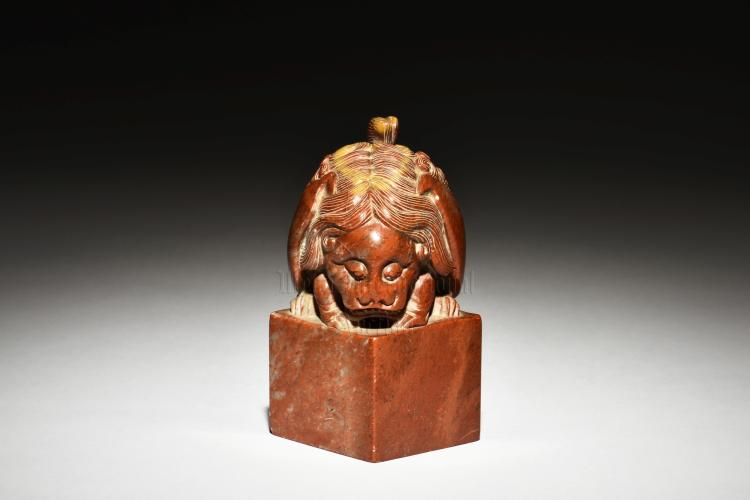 SHOUSHAN STONE CARVED 'MYTHICAL BEAST' STAMP SEAL