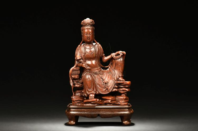 RED SHOUSHAN STONE CARVED GUANYIN FIGURE