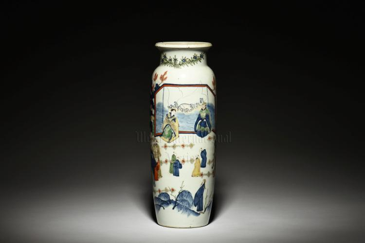 BLUE AND WHITE WUCAI 'PEOPLE' VASE, GU