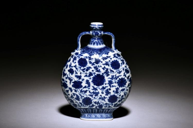 BLUE AND WHITE 'FLOWERS' MOON FLASK