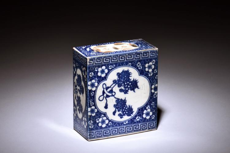 BLUE AND WHITE RECTANGULAR INCENSE COVER
