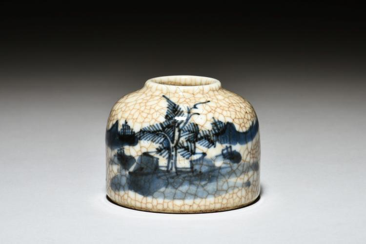 BLUE AND WHITE 'VILLAGE' SPITTOON