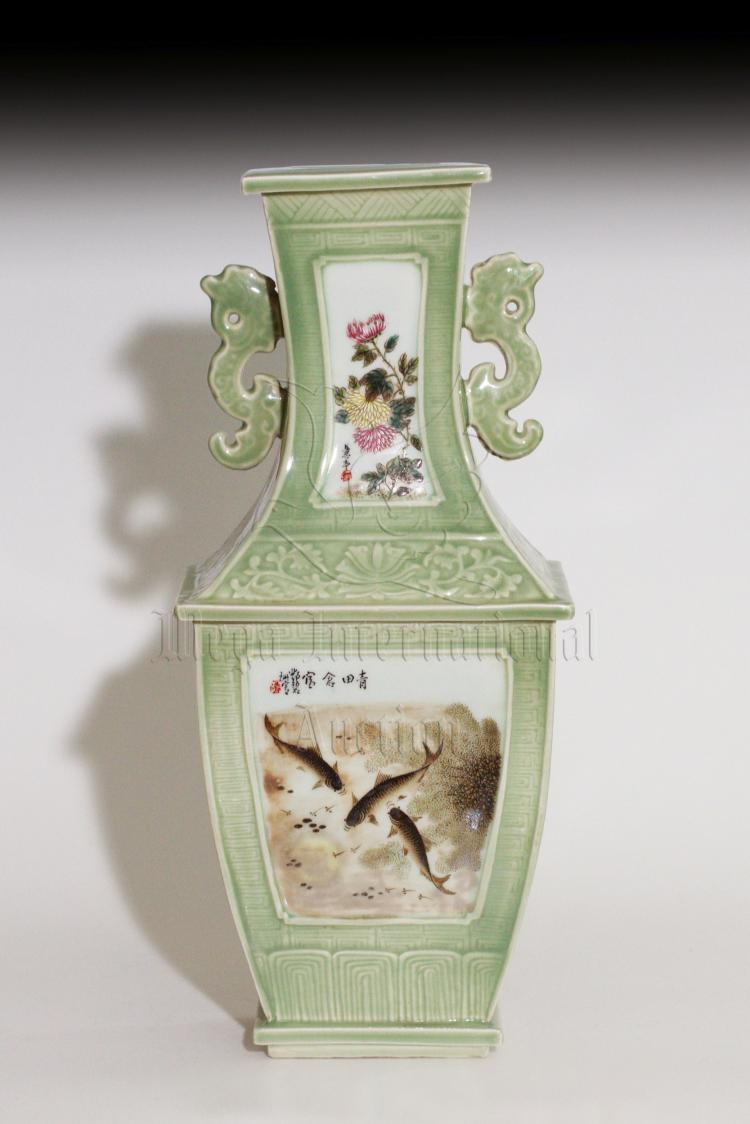 FAMILLE ROSE AND CELADON GLAZE RECTANGULAR VASE
