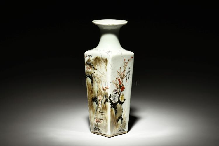 WANG YETING: FAMILLE ROSE RECTANGULAR VASE