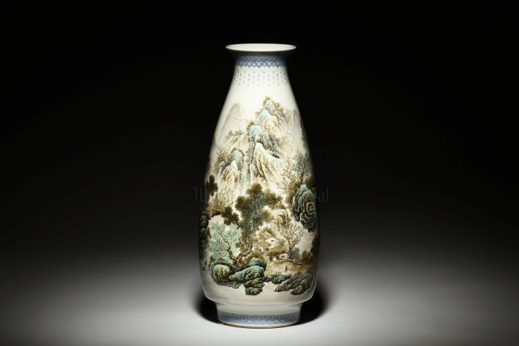 XIONG XIAOFENG: FAMILLE ROSE 'LANDSCAPE' VASE