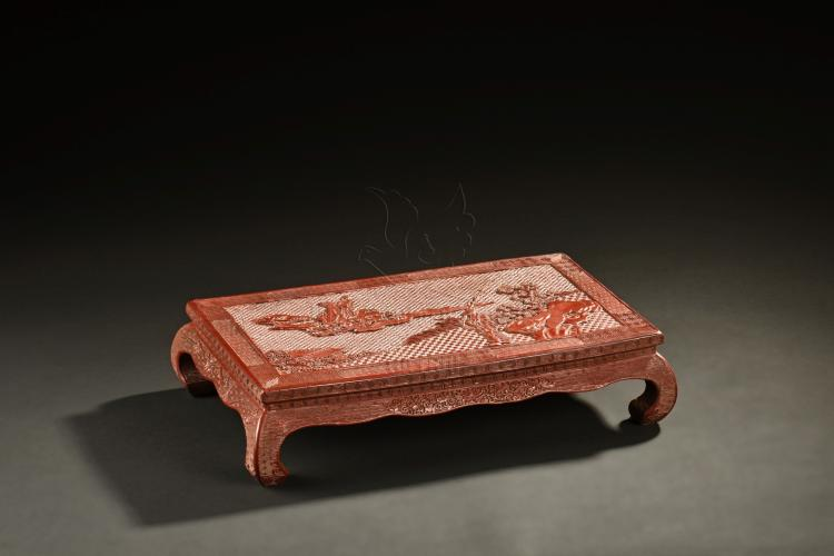 CINNABAR LACQUER CARVED 'CELESTIALS' STOOL