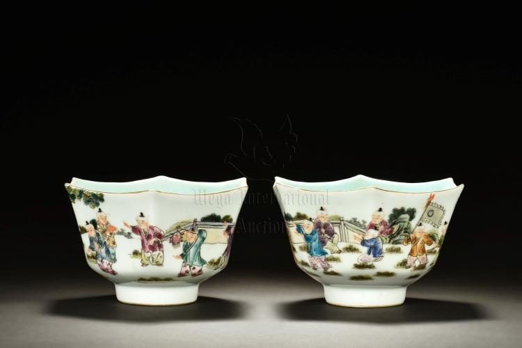 PAIR OF HEXAGONAL 'CHILDREN' TEA CUPS