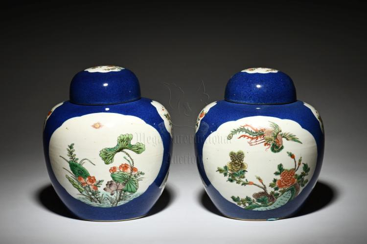 PAIR OF FAMILLE ROSE JARS WITH COVER