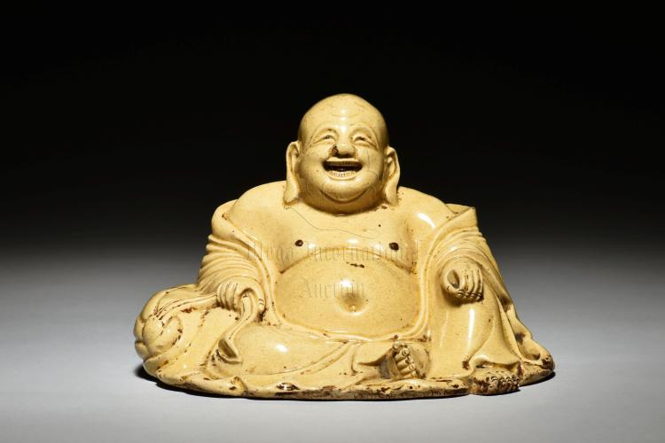 YELLOW GLAZED SEATED MAITREYA BUDDHA FIGURE