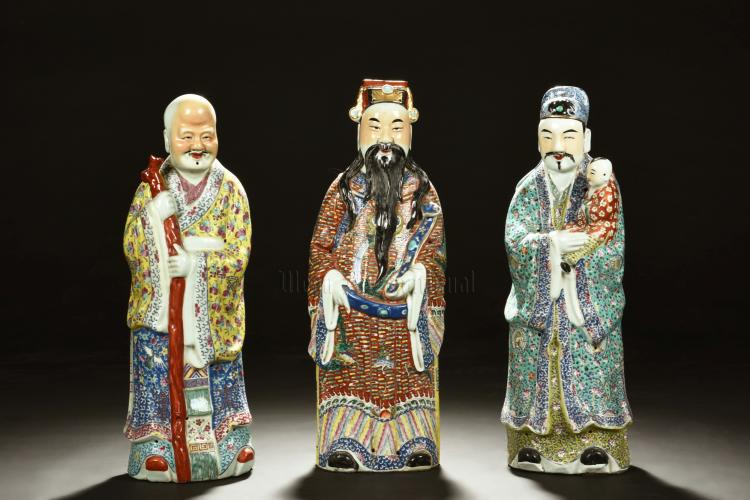 SET OF THREE PORCELAIN FU LU SHOU FIGURES
