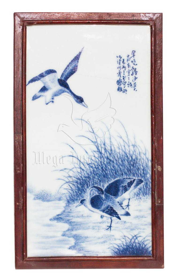 WANG BU: BLUE AND WHITE 'DUCKS' PLAQUE