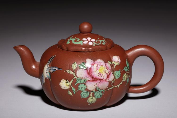 YIXING ZISHA 'BIRDS AND FLOWERS' TEAPOT