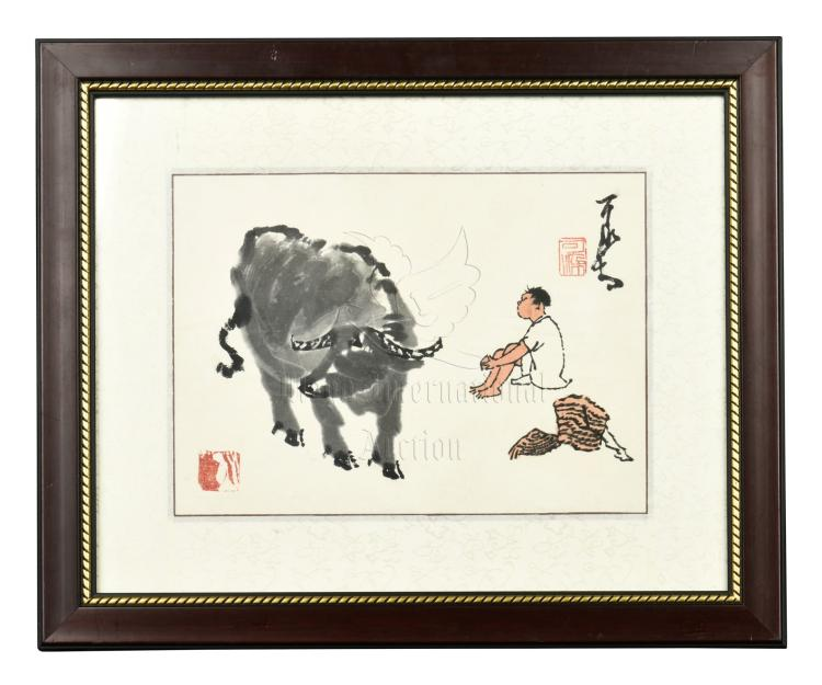 LI KERAN: FRAMED INK AND COLOR ON PAPER PAINTING 'WATER BUFFALO'