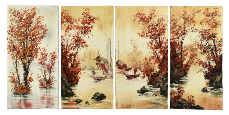 KEE FUNG NG: FOUR OIL PAINTINGS 'RIVERSIDE SCENERY'
