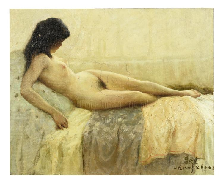 ZHAI XINJIAN: OIL PAINTING ON CANVAS 'NUDE GIRL'
