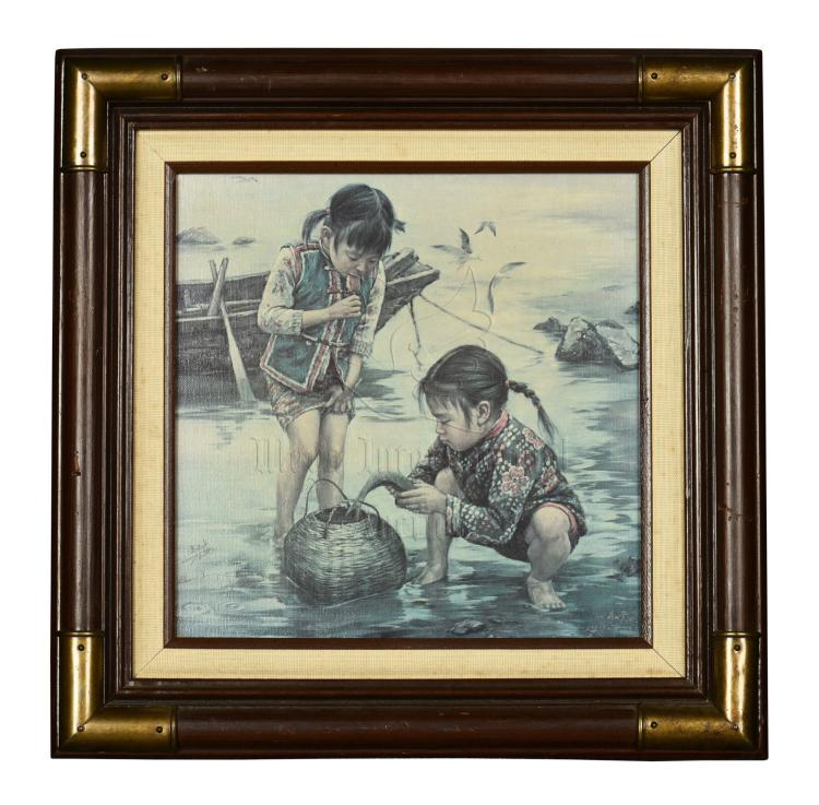 KEE FUNG NG: FRAMED OIL PAINTING 'GIRLS'