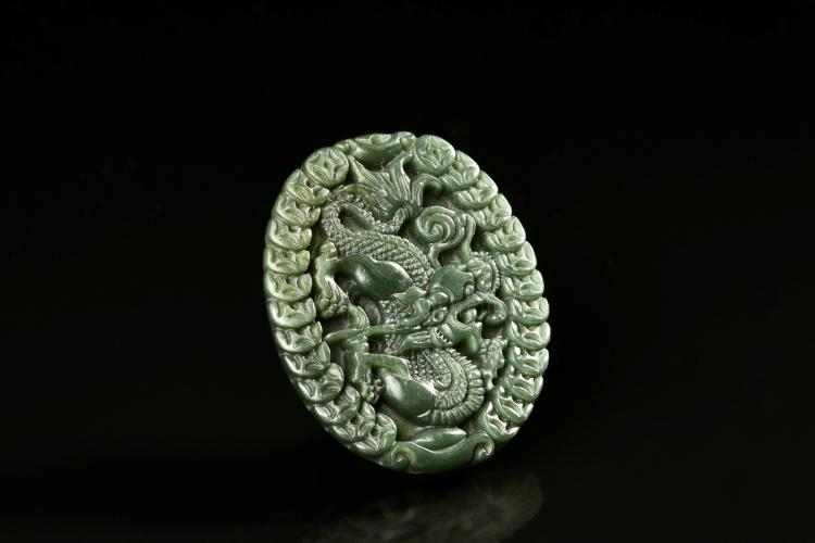SPINACH JADE CARVED 'DRAGON' PENDANT
