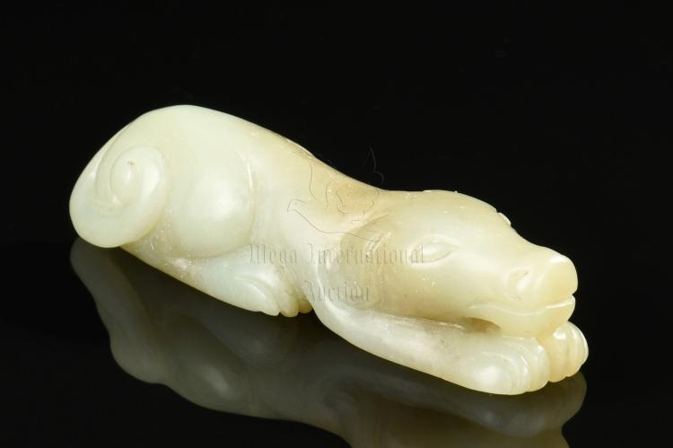 JADE CARVED DOG ORNAMENT