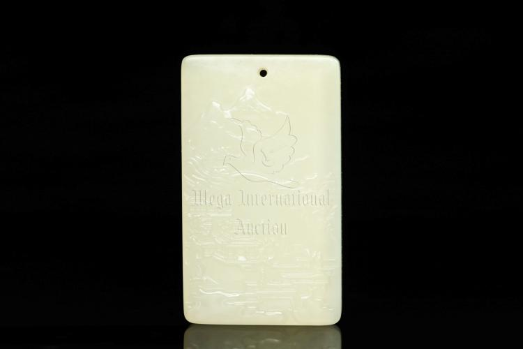 JADE CARVED 'LANDSCAPE' RECTANGULAR PENDANT