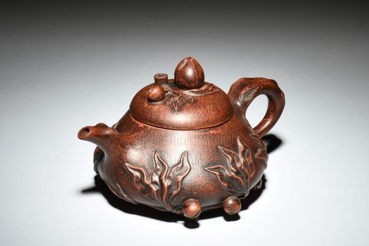 YIXING ZISHA 'PEACHES' TEAPOT