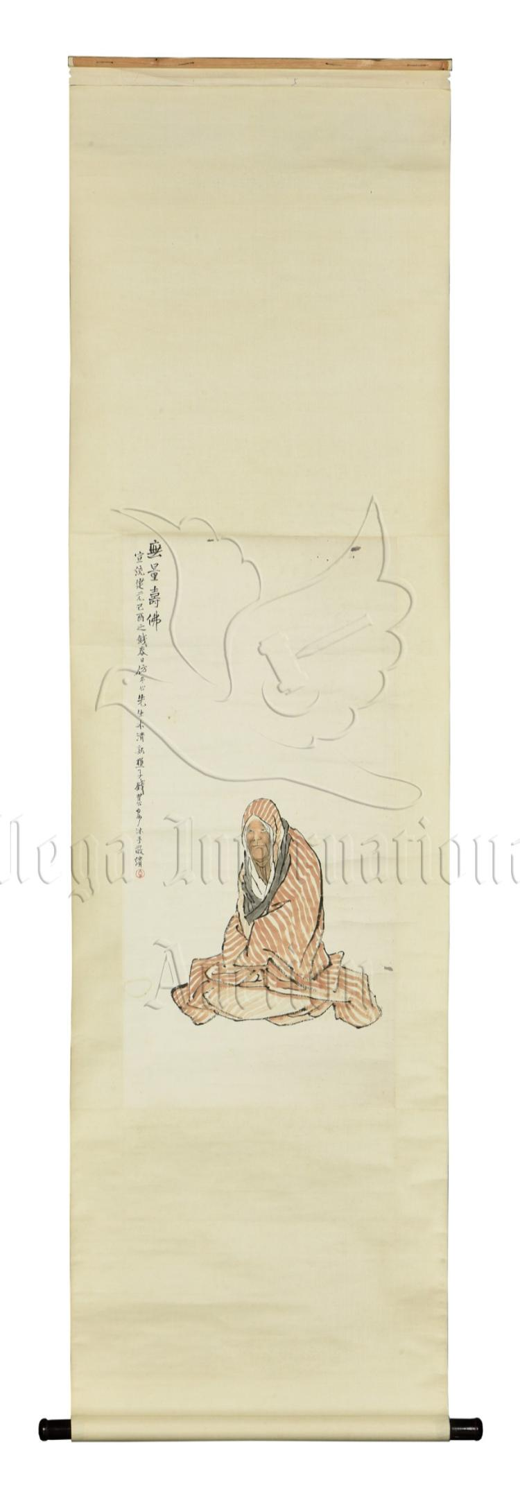 QIAN HUIAN: INK AND COLOR ON PAPER PAINTING 'AMITABHA'