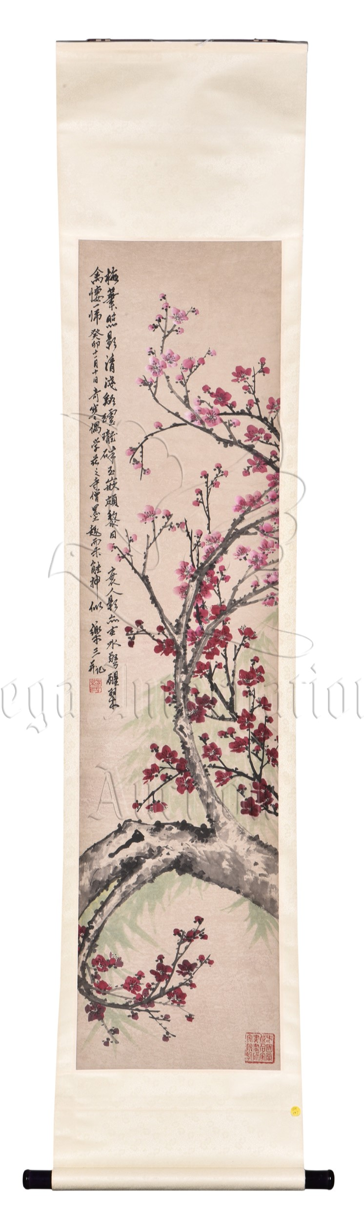 ZHU LESAN: INK AND COLOR ON PAPER PAINTING 'PLUM FLOWERS'